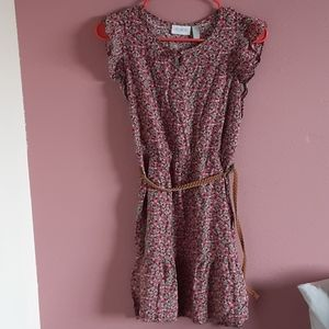 Girls cute floral dress with belt size 16